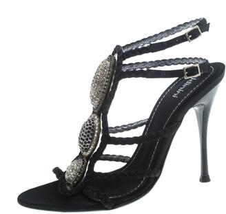 Baldinini Black Braided Satin Crystal Embellished Ankle Strap Sandals Size 36