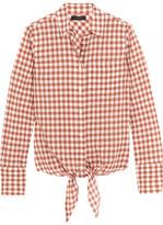 J.Crew Tie-front Gingham Stretch-cotton Shirt - Brick