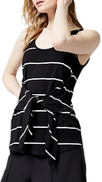 Warehouse Stripe Tie Front Vest, Black