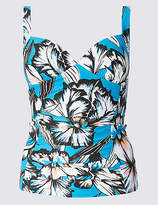 M&S Collection Floral Print Plunge Tankini Top