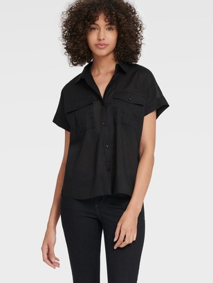 DKNY Women's Short Sleeve Button Up With Chest Pockets - Black - Size XL