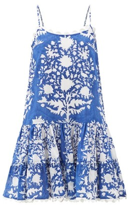 Juliet Dunn Palladio-print Cotton Dress - Blue White