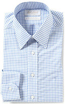 Roundtree & Yorke Gold Label Non-Iron Fitted Classic-Fit Point-Collar Oxford Checked Dress Shirt