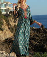 Ananda's Collection Women's Maxi Dresses Teal - Teal & Gold Paisley Three-Quarter Sleeve V-Neck Maxi Dress - Women