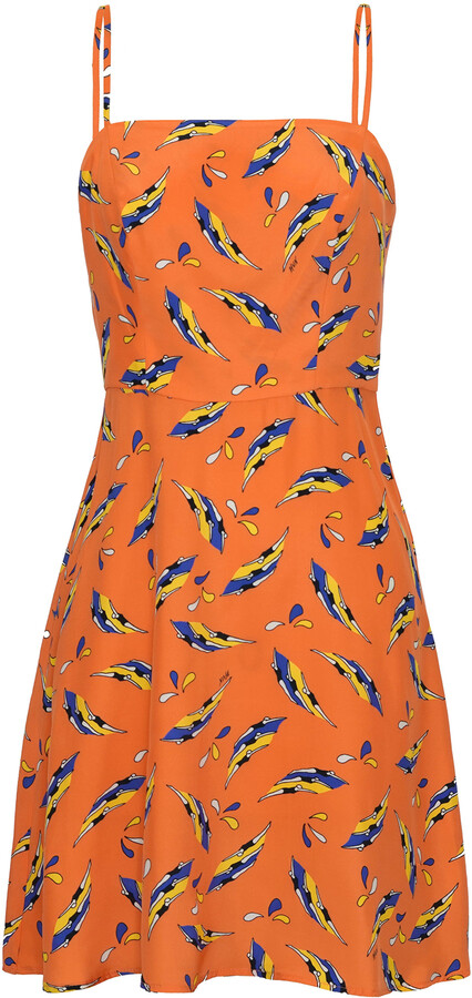 Thumbnail for your product : HVN Women's Nora Printed Bias-Cut Silk Mini Dress - Orange/green - Moda Operandi