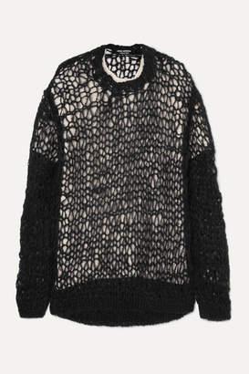 Junya Watanabe Oversized Open-knit Layered Wool And Silk-blend Sweater - Black