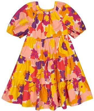 Il Gufo Floral cotton poplin dress