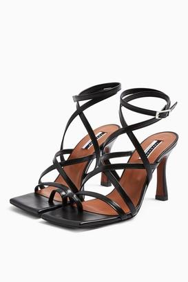 Topshop NATIVE Leather Black Toe Loop Sandals