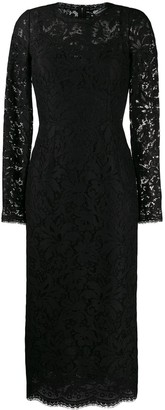 Dolce & Gabbana Floral Lace Midi Dress