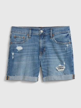 "Gap 5"" Mid Rise Distressed Denim Shorts"