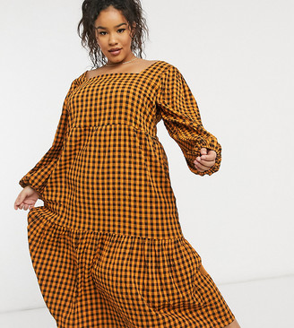 Lola May Curve tiered smock dress in orange check