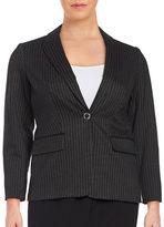 Calvin Klein Plus Pinstriped One-Button Blazer