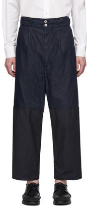 Comme des Garçons Homme Navy Multi-Fabric Garment-Dyed Trousers