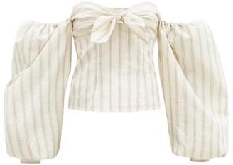 ATTICO Eva Oversized Sleeves Bow-front Cotton-blend Top - Cream