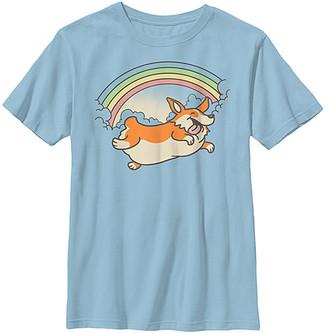 Fifth Sun Boys' Tee Shirts LT - Light Blue Corgi Rainbow Jump Crewneck Tee - Boys