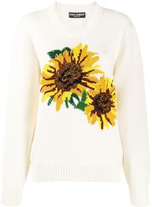 Dolce & Gabbana sunflower intarsia jumper