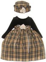 Cinderella Couture Baby Girls Black Velvet Checker Corsage Hat Christmas Dress 12M