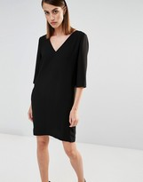 Selected V Neck Shift Dress with Front Pockets