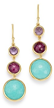 Ippolita 18K Yellow Gold Lollipop Amethyst, Turquoise & Clear Quartz over African Ruby Doublet Three-Stone Drop Earrings