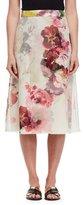 Lanvin Floral Silk A-Line Midi Skirt, Multi