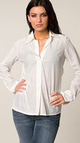 Da Nang White Woven Button-Up Blouse