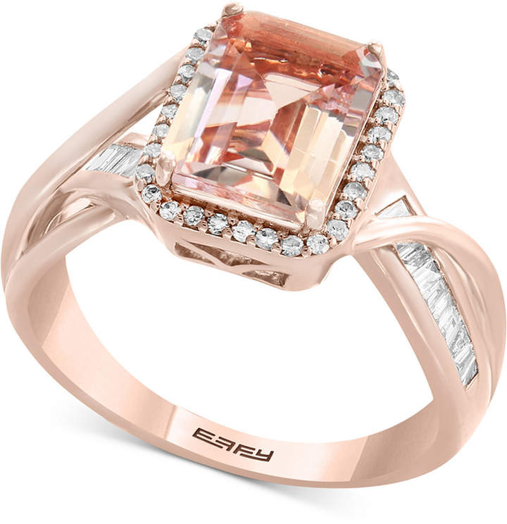 Effy Blush by Morganite (1-9/10 ct. t.w.) & Diamond (1/4 ct. t.w.) Ring in 14k Rose Gold
