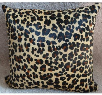 "Pergamino Leopard DS Cowhide Pillow Cover 15""x15"""