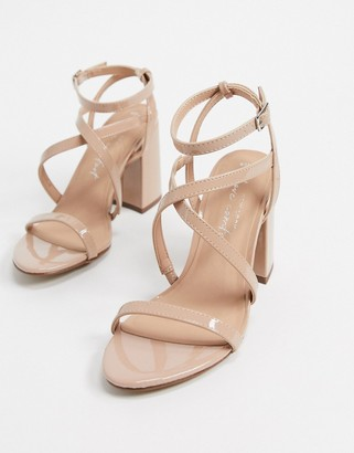 New Look flare heeled strappy sandals in oatmeal