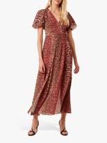 French Connection Annalia Leopard Print Tea Dress, Casablanca/Rhubarb