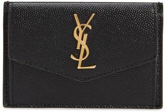 Saint Laurent Uptown Pebbled Leather Flap Card Case