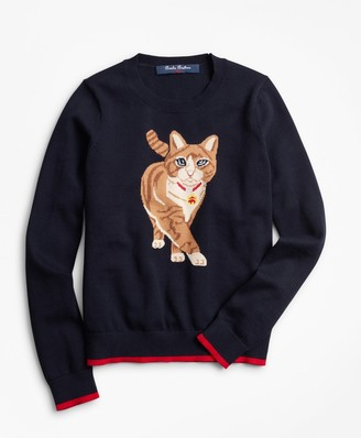 Brooks Brothers Girls Cotton Kitty Intarsia Sweater