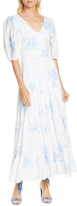 LoveShackFancy Lenny Watercolor Floral Maxi Dress