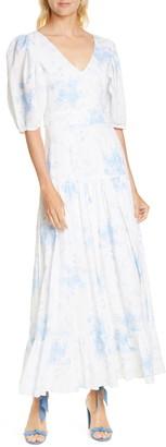LoveShackFancy Lenny Watercolor Floral Maxi Dress