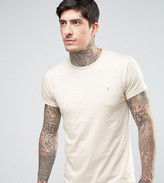 Farah Twisted Yarn Marl T-shirt Exclusive in Off White