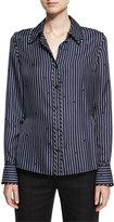 Diane von Furstenberg Long-Sleeve Collared Silk Striped Shirt