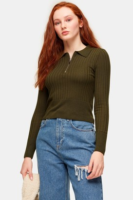 Topshop Womens Khaki Zip Knitted Polo Top - Khaki