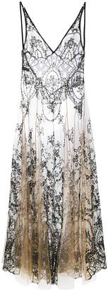 I.D. Sarrieri floral embroidery sheer nightgown