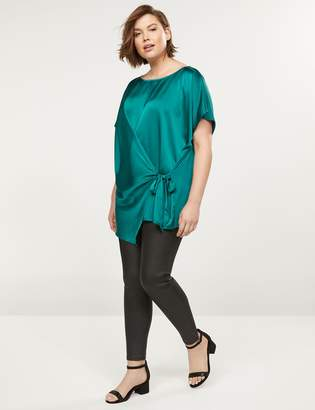 Lane Bryant Mixed Material Wrap-Front Tunic