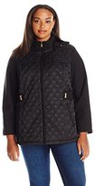 Jones New York Women's Plus Size Diamond Quilted Soft Shell with Detachable Hood