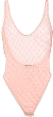 Le Petit Trou Rosaline Swiss-dot Stretch-tulle Bodysuit