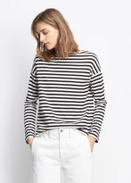 Vince Striped Long Sleeve Boat Neck Tee
