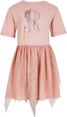 River Island Girls Pink diamante mesh T-shirt dress