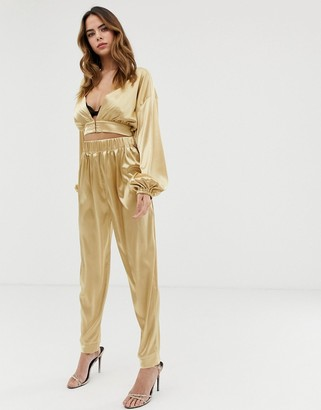 Lioness tapered trouser co-ord in gold