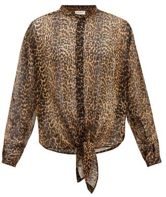 Saint Laurent Leopard-print Asymmetric-hem Wool Blouse - Leopard