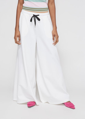 Marni Women's Wide Leg Trouser Pants in Lily White Size 40 Viscose/Polyamide/Elastane