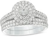 Zales 1 CT. T.W. Composite Diamond Multi-Row Bridal Set in 14K White Gold