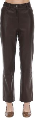 The Row Straight Leg Soft Grain Leather Pants
