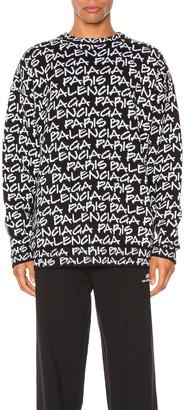 Balenciaga Long Sleeve Crewneck in Black & White | FWRD