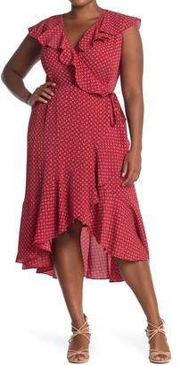 Max Studio Ruffle Wrap Midi Dress (Plus Size)