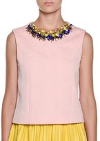 Marni Embellished-Neck Textured Top, Cinder Rose